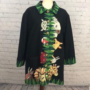 Vtg ANAGE Embroidered Safari Black Blazer sz XL